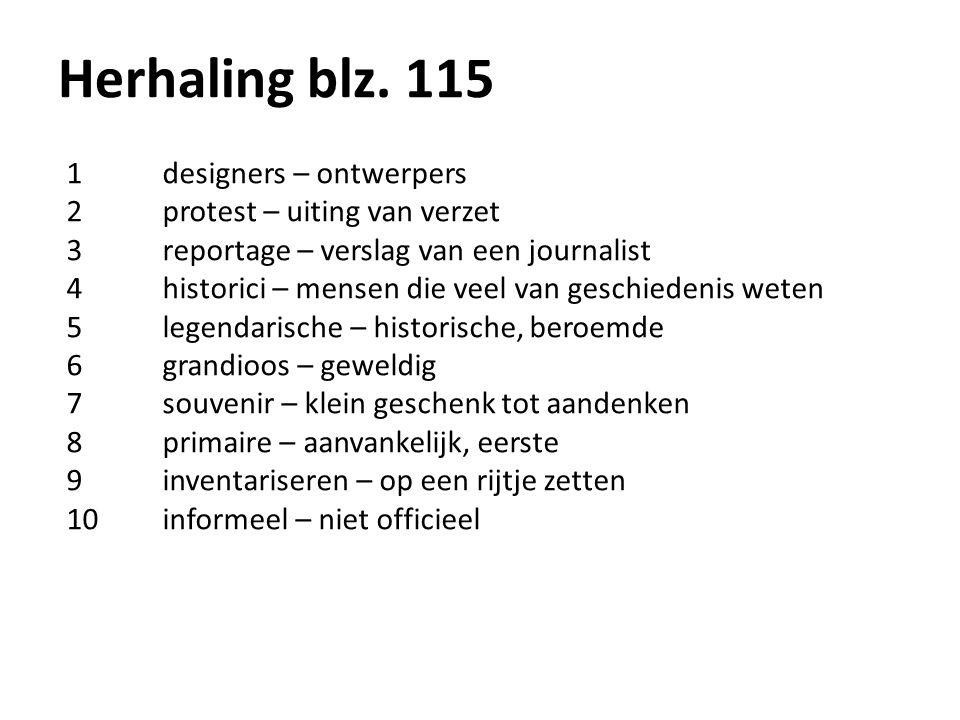 Herhaling blz. 115 1 designers – ontwerpers