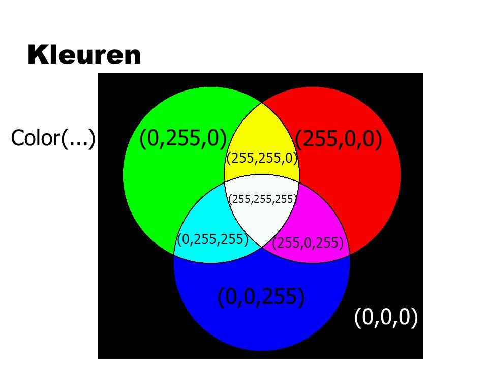 Kleuren Color(...) (0,255,0) (255,0,0) (0,0,255) (0,0,0) (255,255,0)