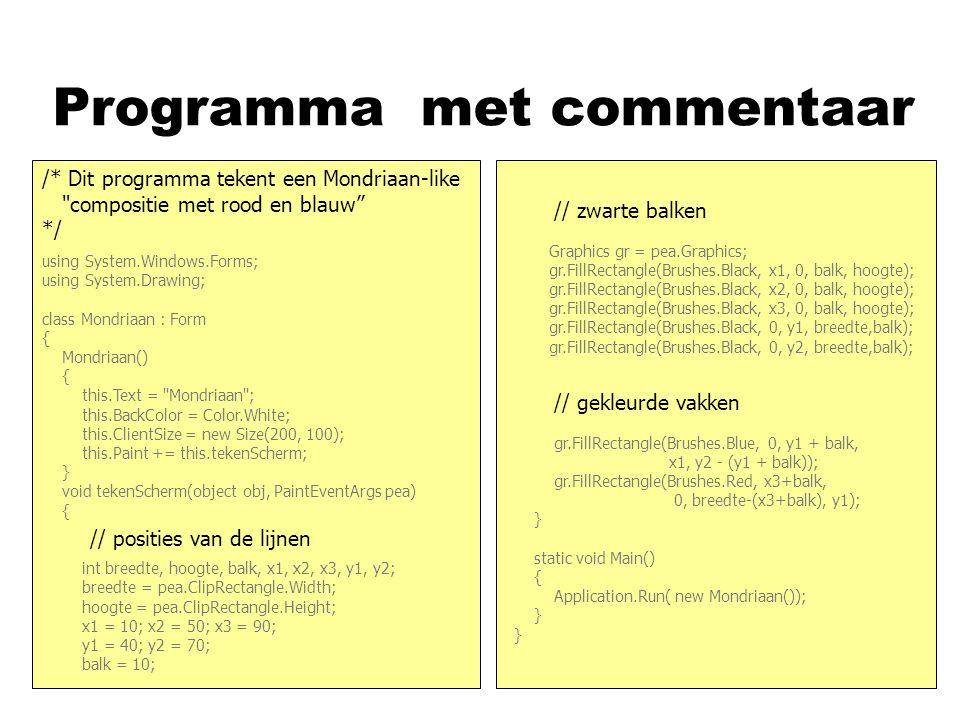 Programma met commentaar asd