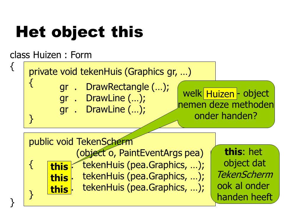 Het object this class Huizen : Form { }