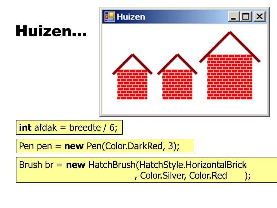 Huizen... int afdak = breedte / 6;