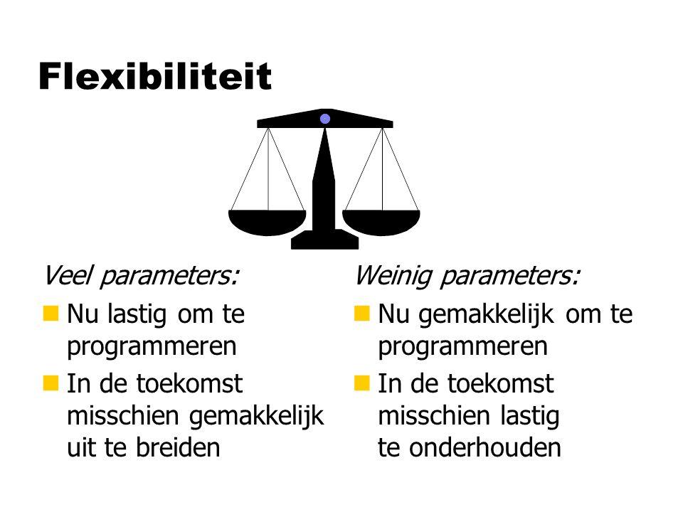 Flexibiliteit Veel parameters: Nu lastig om te programmeren