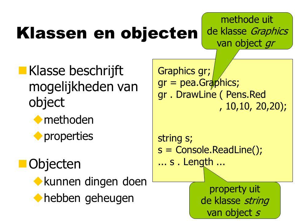Klassen en objecten Klasse beschrijft mogelijkheden van object