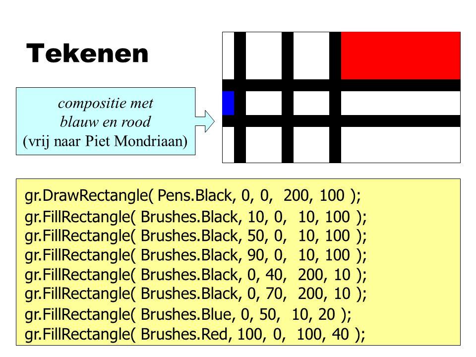 compositie met blauw en rood (vrij naar Piet Mondriaan)