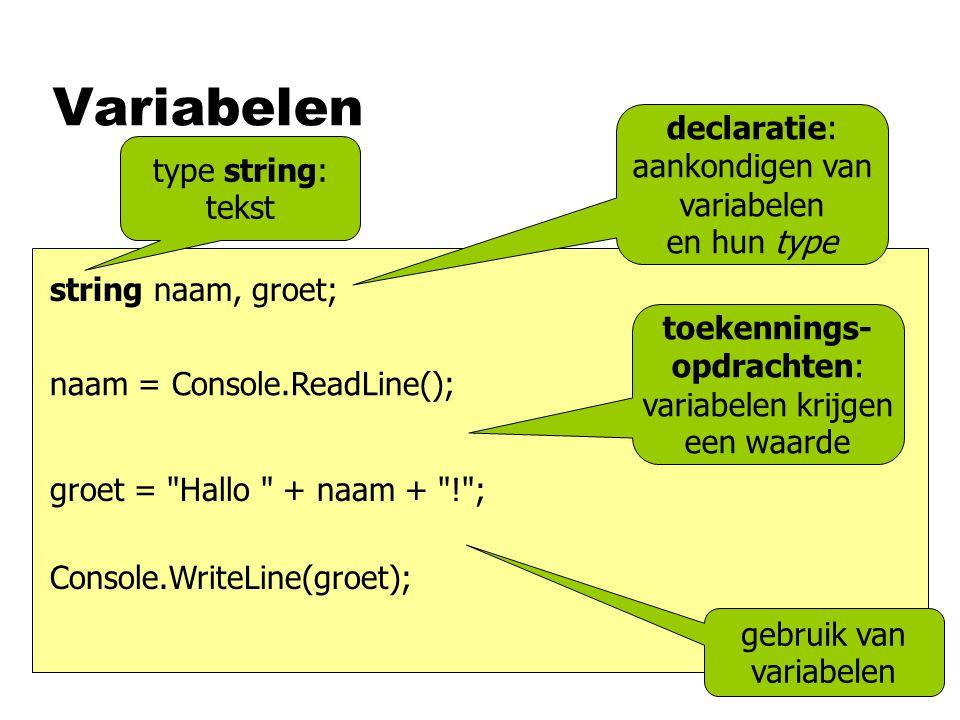 Variabelen declaratie: aankondigen van variabelen en hun type