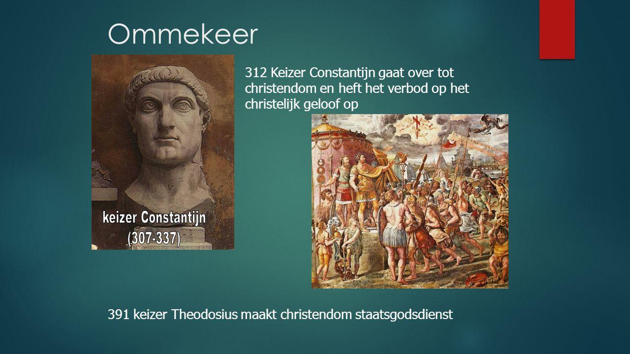 Ommekeer 312 Keizer Constantijn gaat over tot christendom en heft het verbod op het christelijk geloof op.
