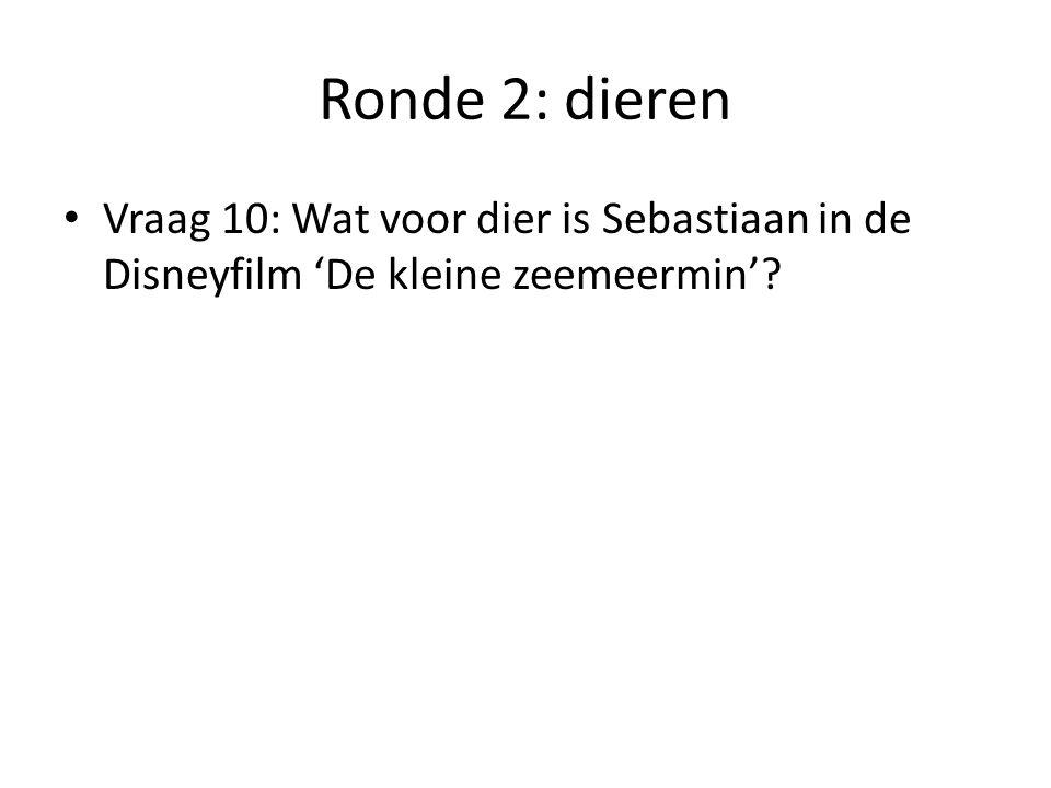 Ronde 2: dieren Vraag 10: Wat voor dier is Sebastiaan in de Disneyfilm 'De kleine zeemeermin'