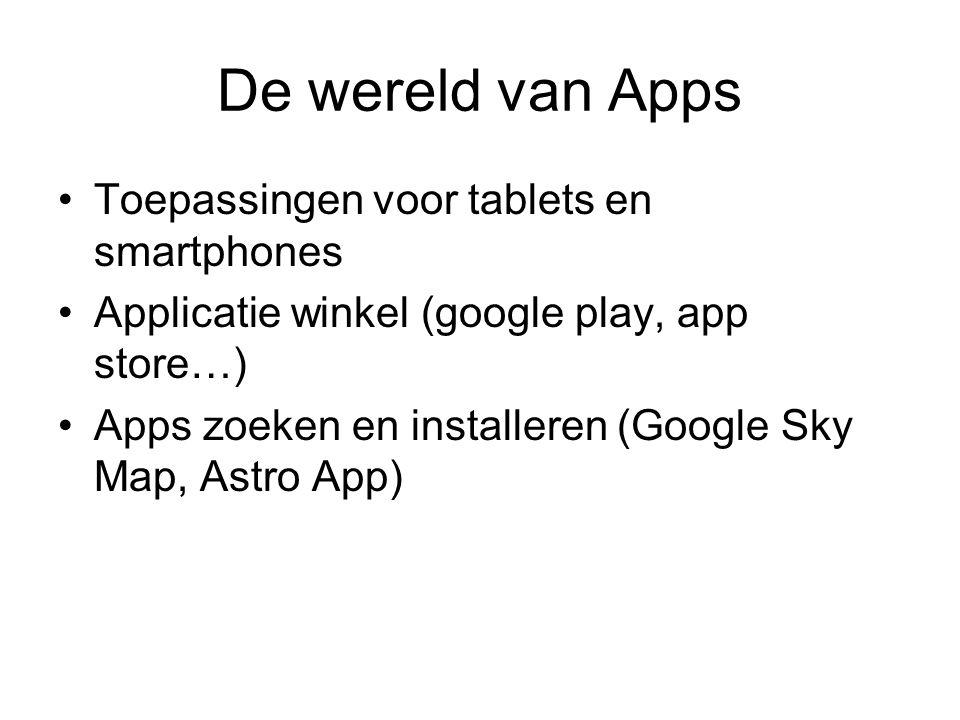 De wereld van Apps Toepassingen voor tablets en smartphones