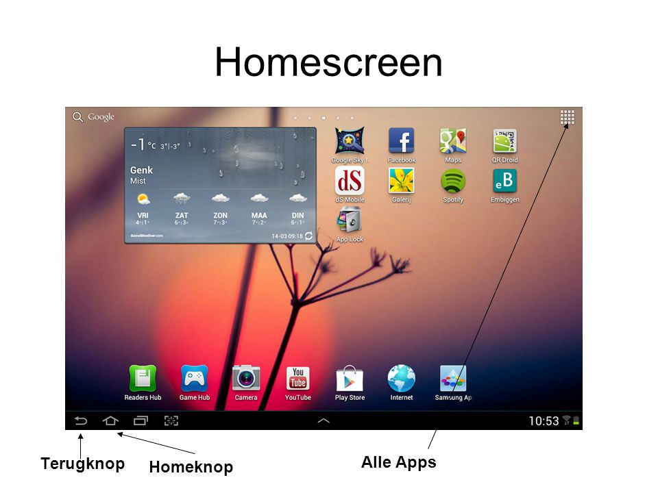 Homescreen Alle Apps Terugknop Homeknop