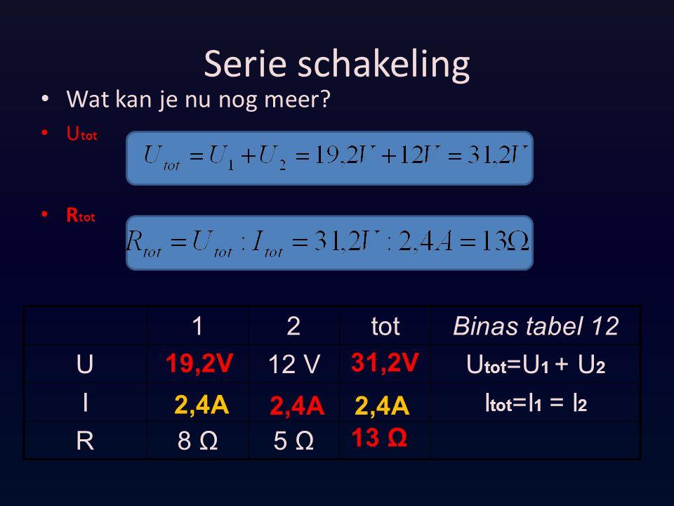 Serie schakeling Wat kan je nu nog meer 1 2 tot Binas tabel 12 U 12 V