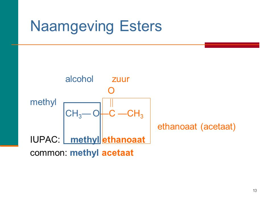 Naamgeving Esters alcohol zuur O methyl  CH3— O—C —CH3