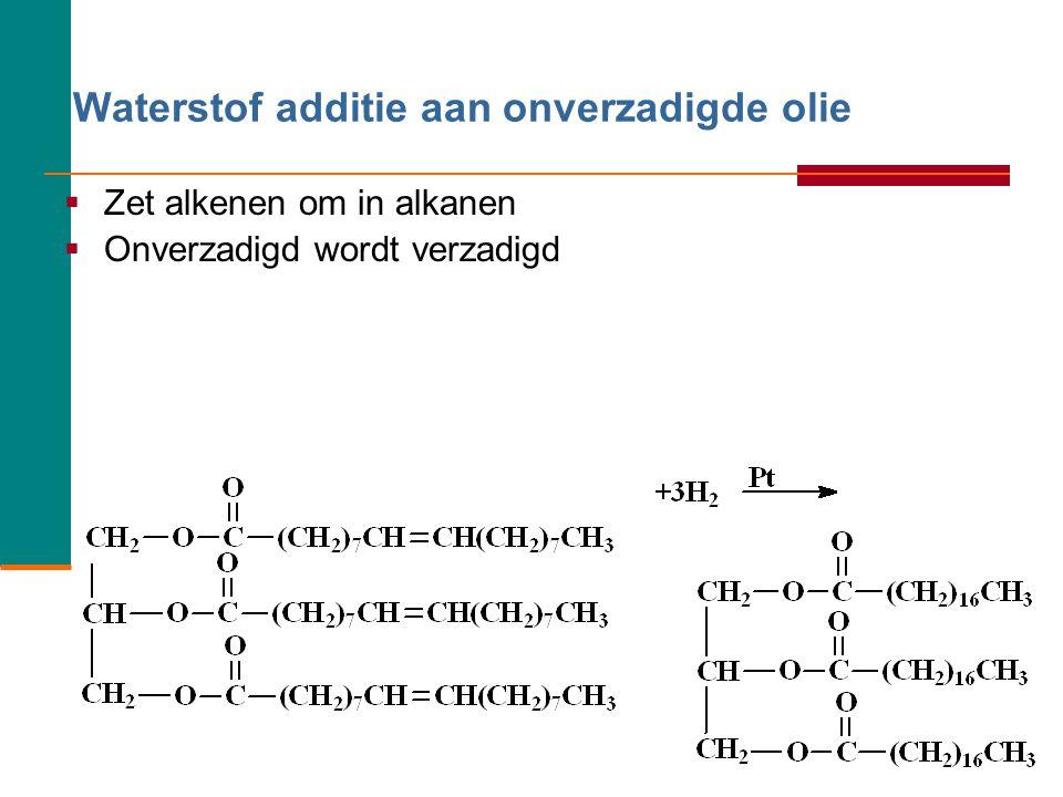 Waterstof additie aan onverzadigde olie