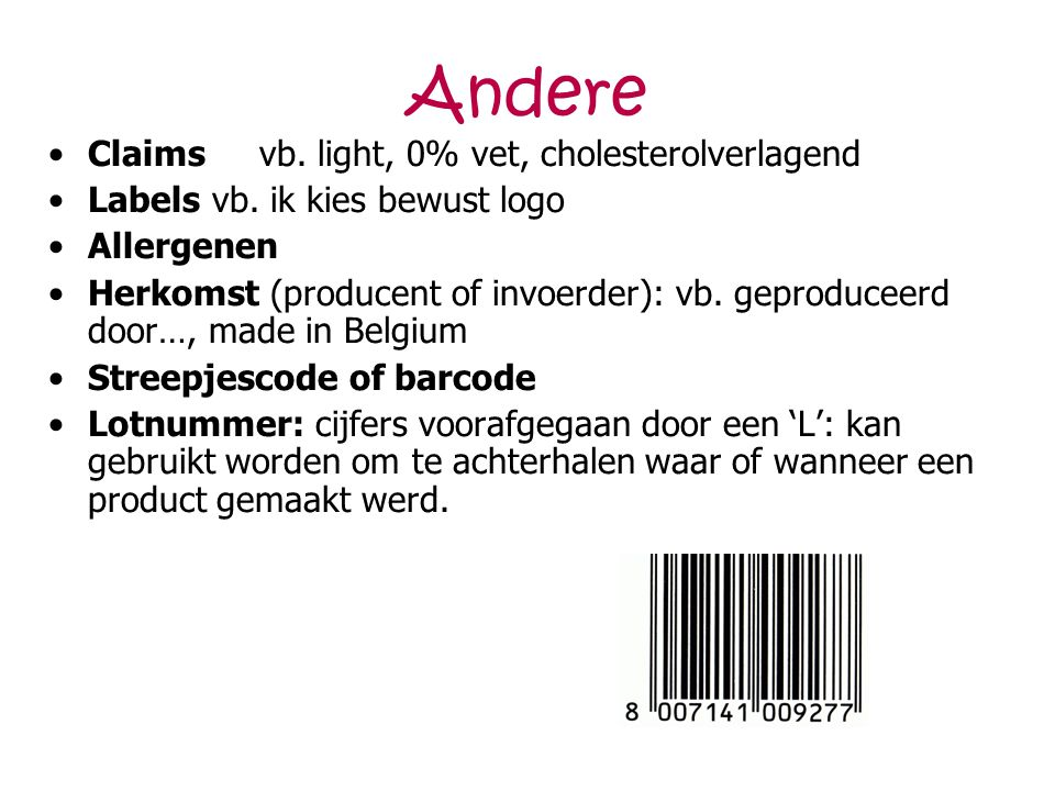 Andere Claims vb. light, 0% vet, cholesterolverlagend