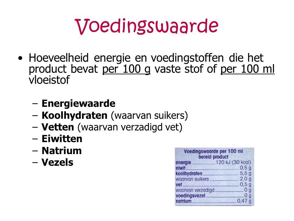 Voedingswaarde Hoeveelheid energie en voedingstoffen die het product bevat per 100 g vaste stof of per 100 ml vloeistof.