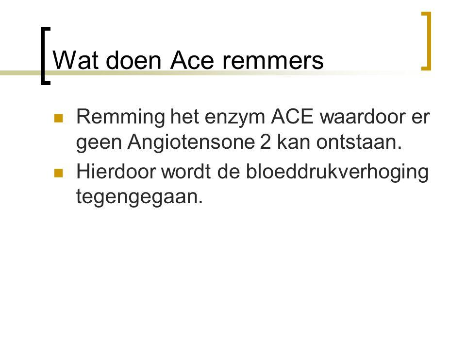 Wat doen Ace remmers Remming het enzym ACE waardoor er geen Angiotensone 2 kan ontstaan.