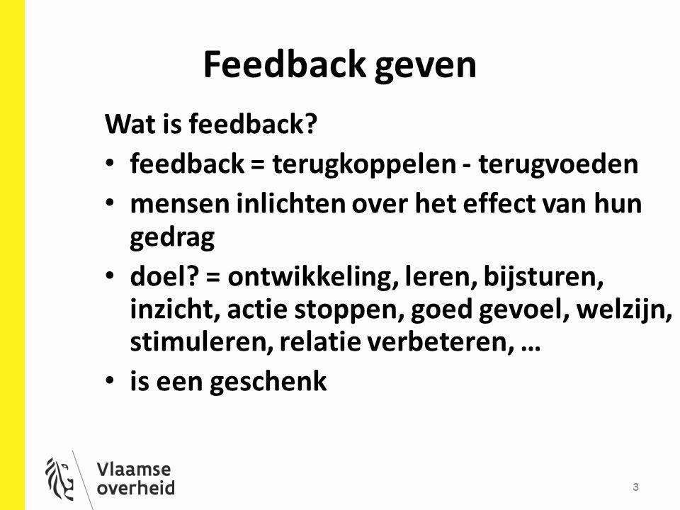 Feedback geven Wat is feedback feedback = terugkoppelen - terugvoeden