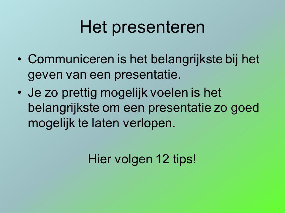 Het presenteren Communiceren is het belangrijkste bij het geven van een presentatie.
