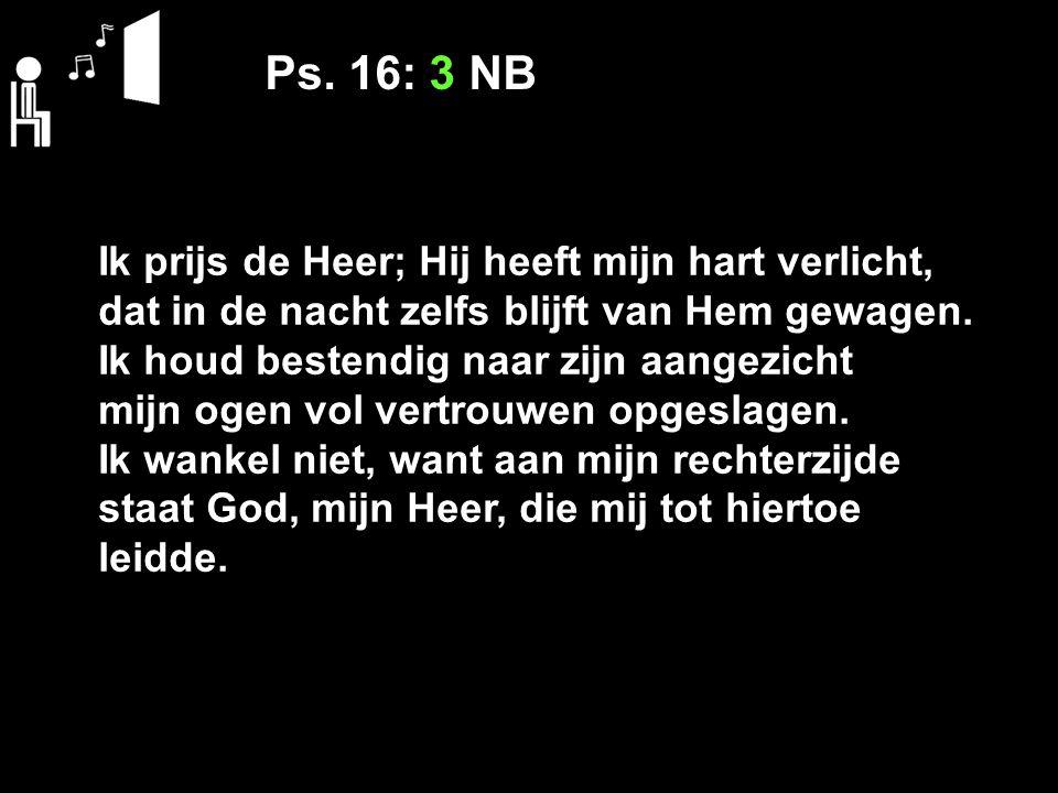 Ps. 16: 3 NB Ik prijs de Heer; Hij heeft mijn hart verlicht,