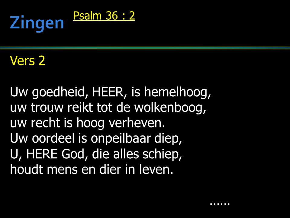 Zingen Vers 2 Uw goedheid, HEER, is hemelhoog,