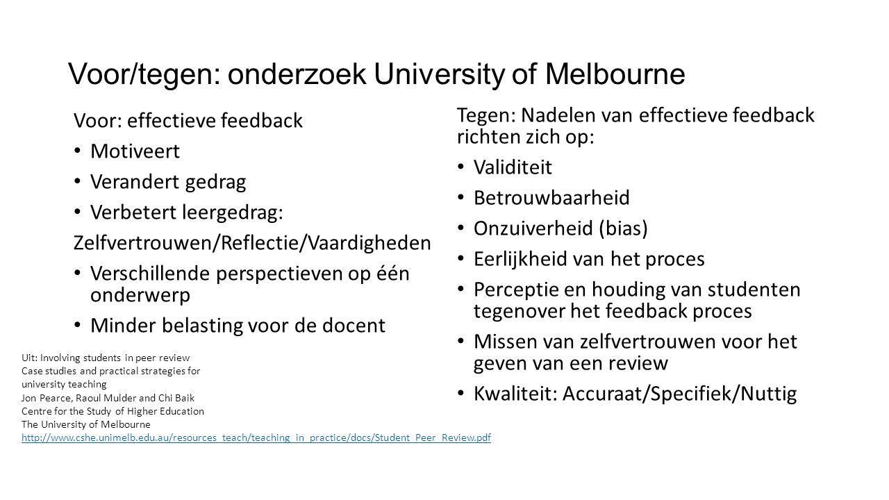 Voor/tegen: onderzoek University of Melbourne