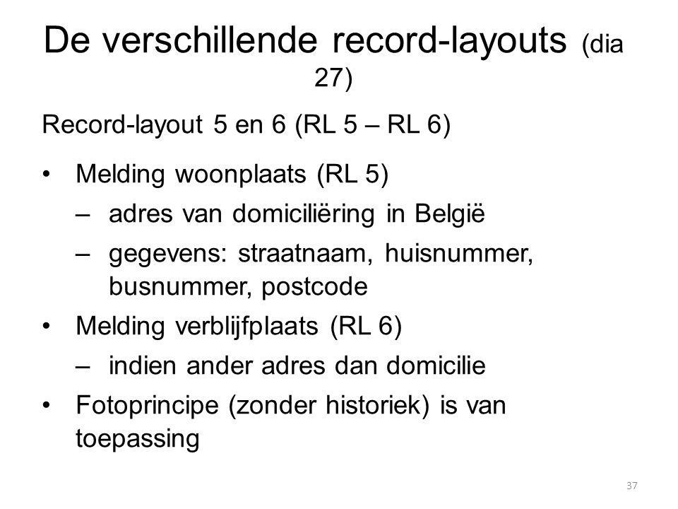 De verschillende record-layouts (dia 27)