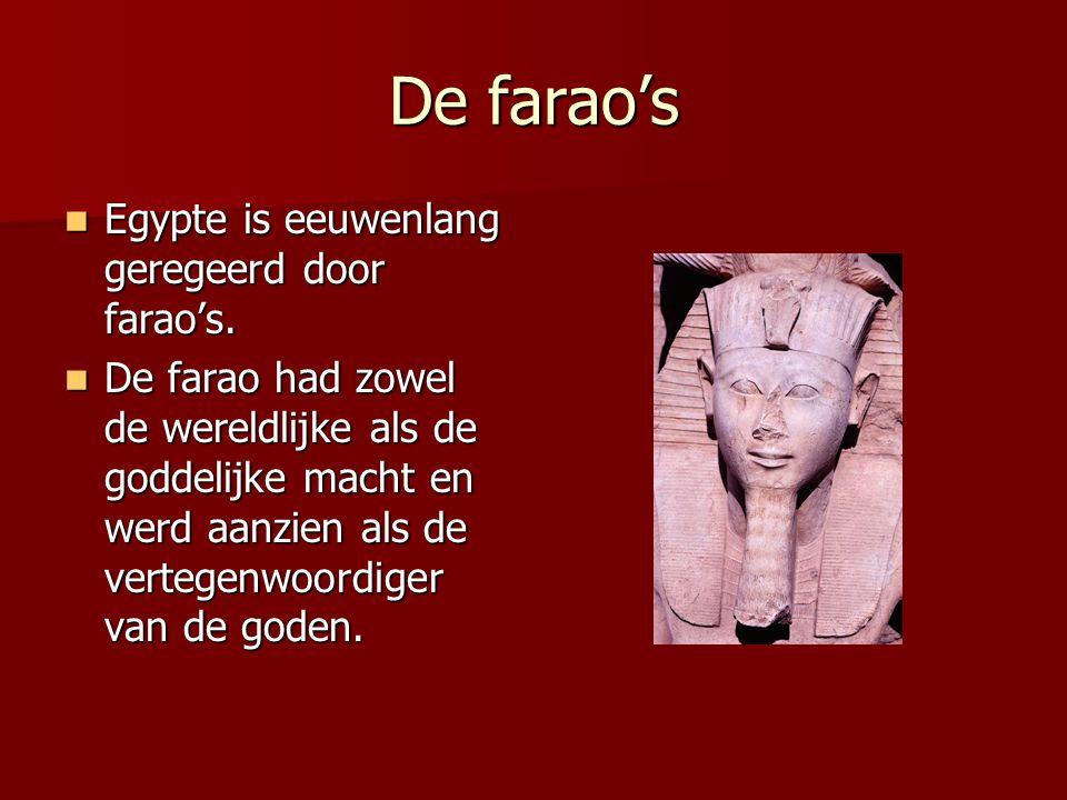 De farao's Egypte is eeuwenlang geregeerd door farao's.