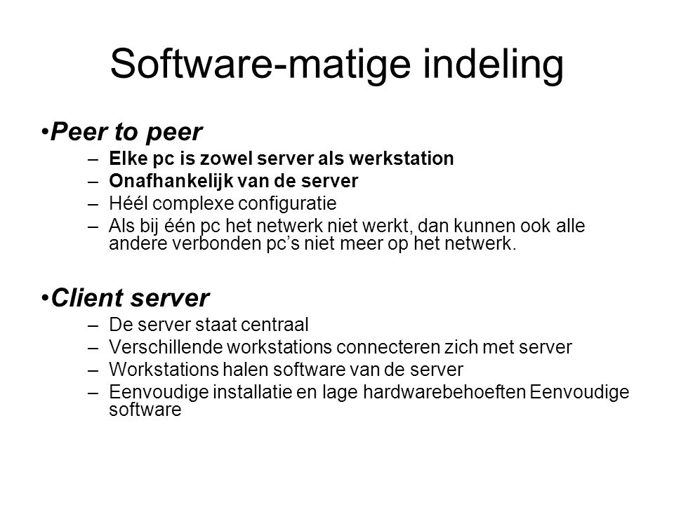 Software-matige indeling
