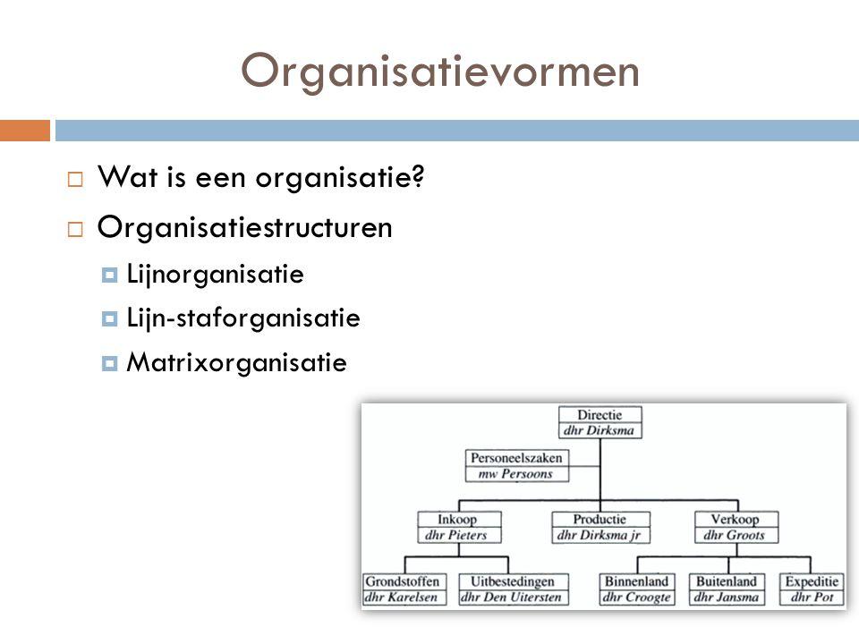 Organisatievormen Wat is een organisatie Organisatiestructuren