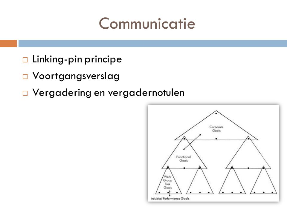 Communicatie Linking-pin principe Voortgangsverslag