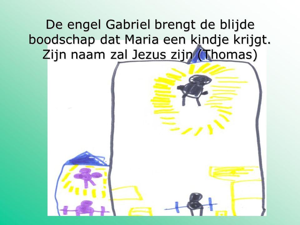 De engel Gabriel brengt de blijde boodschap dat Maria een kindje krijgt.