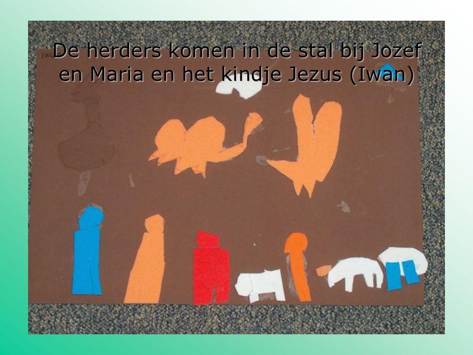 De herders komen in de stal bij Jozef en Maria en het kindje Jezus (Iwan)