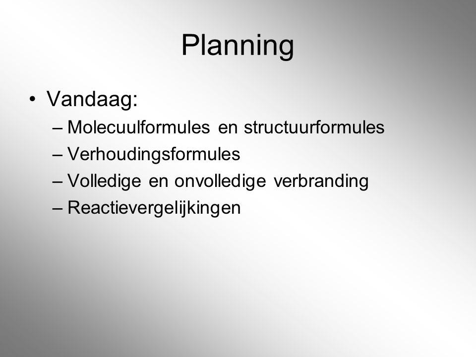 Planning Vandaag: Molecuulformules en structuurformules