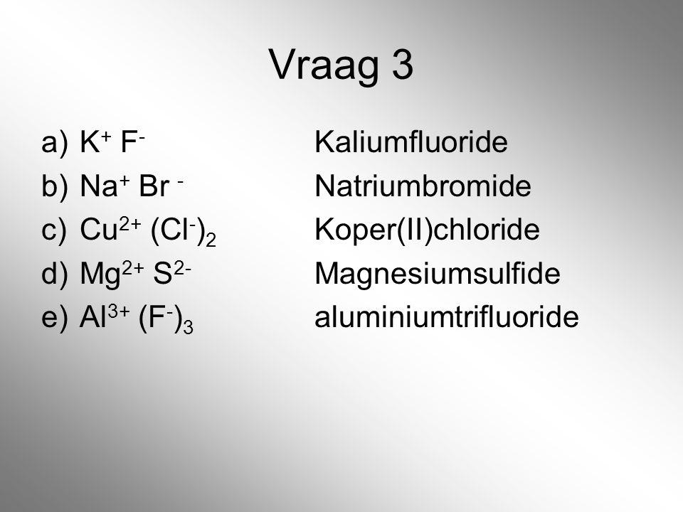 Vraag 3 K+ F- Kaliumfluoride Na+ Br - Natriumbromide