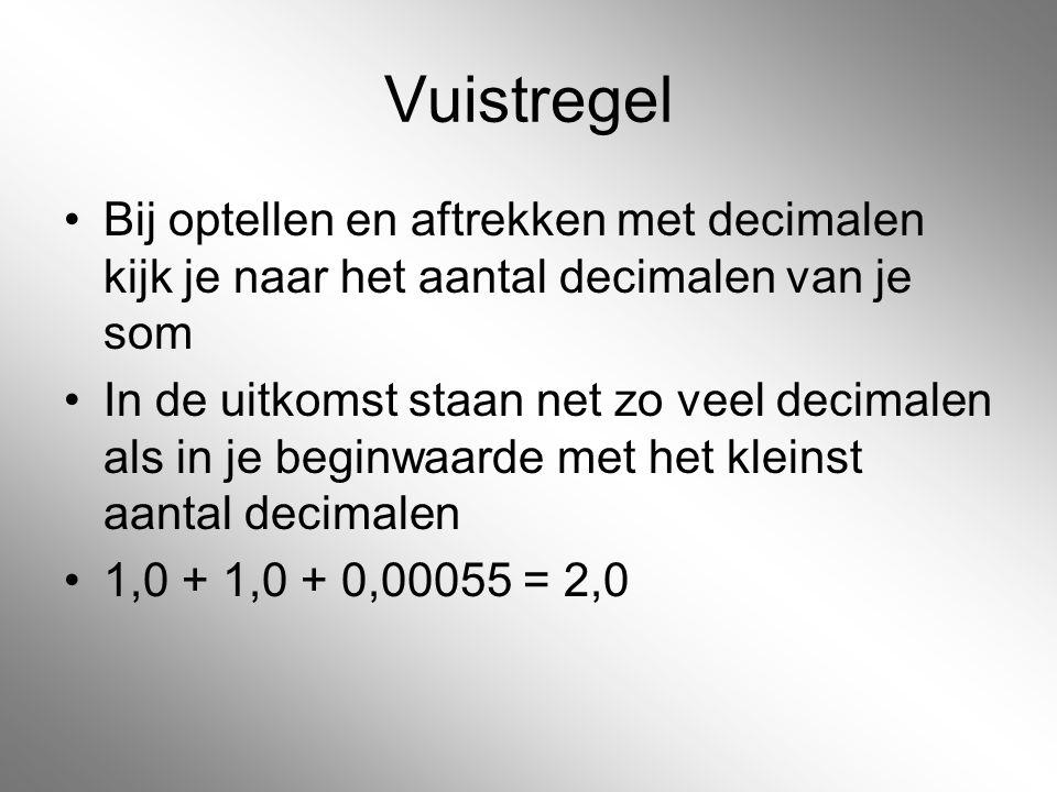 Vuistregel Bij optellen en aftrekken met decimalen kijk je naar het aantal decimalen van je som.
