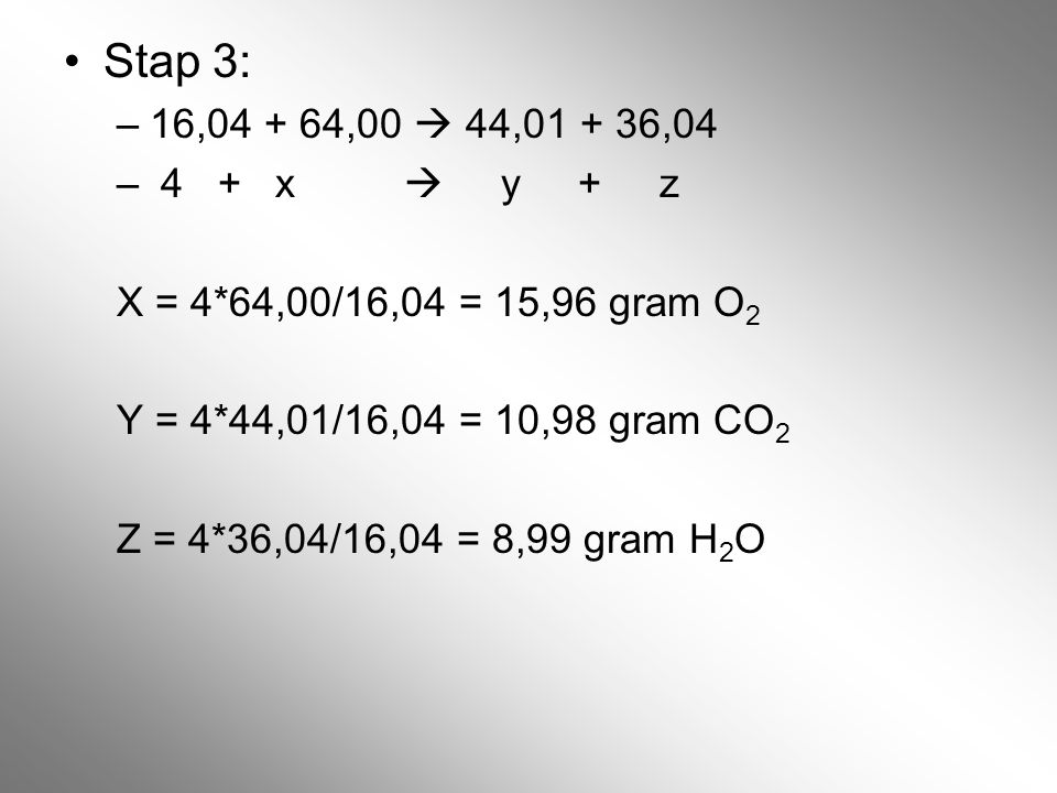 Stap 3: 16,04 + 64,00  44,01 + 36,04. 4 + x  y + z. X = 4*64,00/16,04 = 15,96 gram O2.