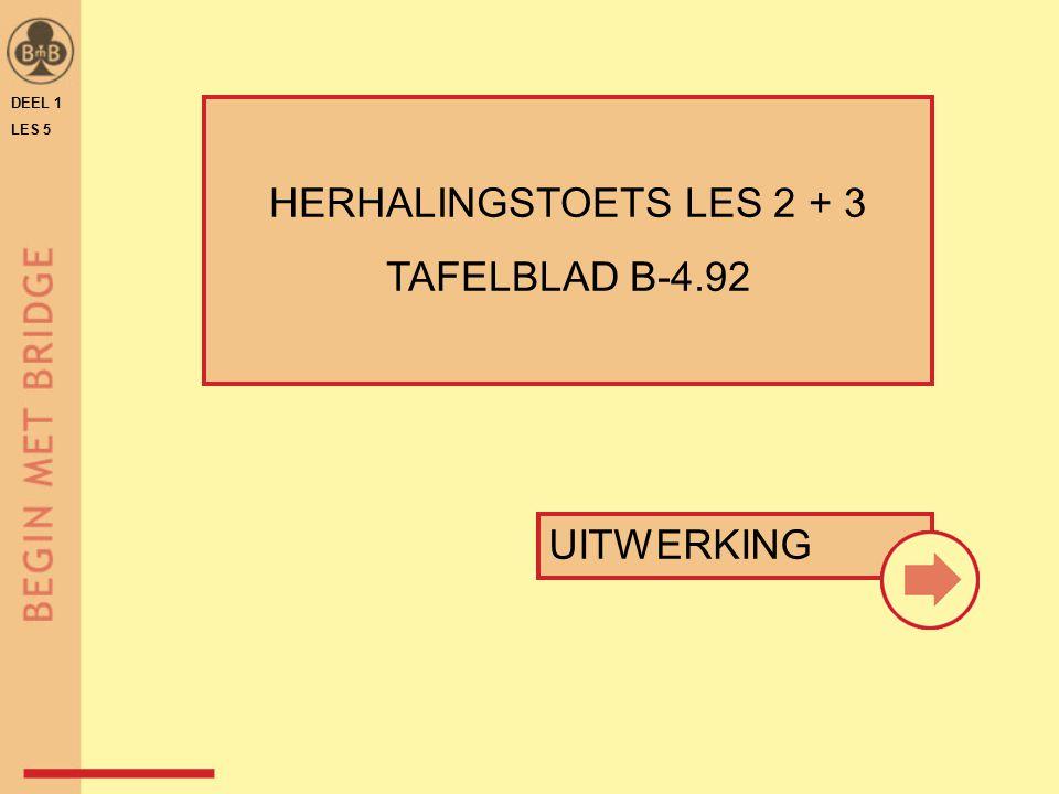 DEEL 1 LES 5 HERHALINGSTOETS LES 2 + 3 TAFELBLAD B-4.92 UITWERKING