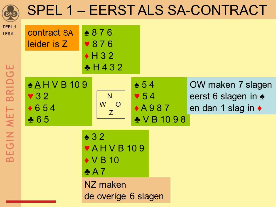 SPEL 1 – EERST ALS SA-CONTRACT