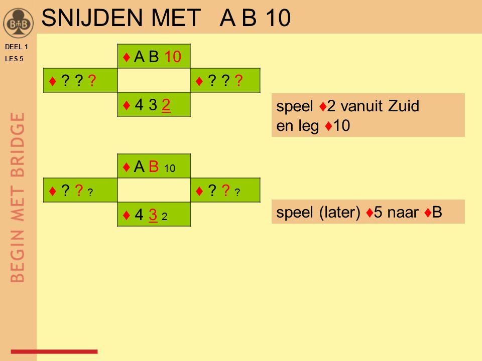 SNIJDEN MET A B 10 ♦ A B 10 ♦ ♦ 4 3 2 ♦ A B 10 ♦