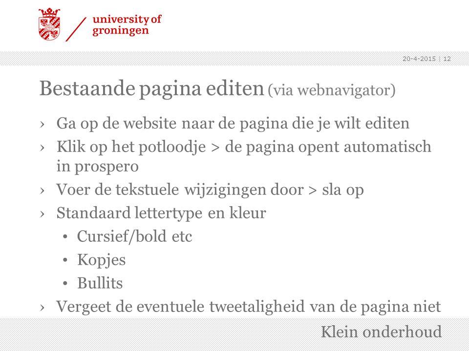 Bestaande pagina editen (via webnavigator)