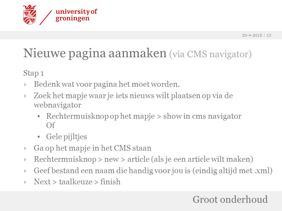 Nieuwe pagina aanmaken (via CMS navigator)