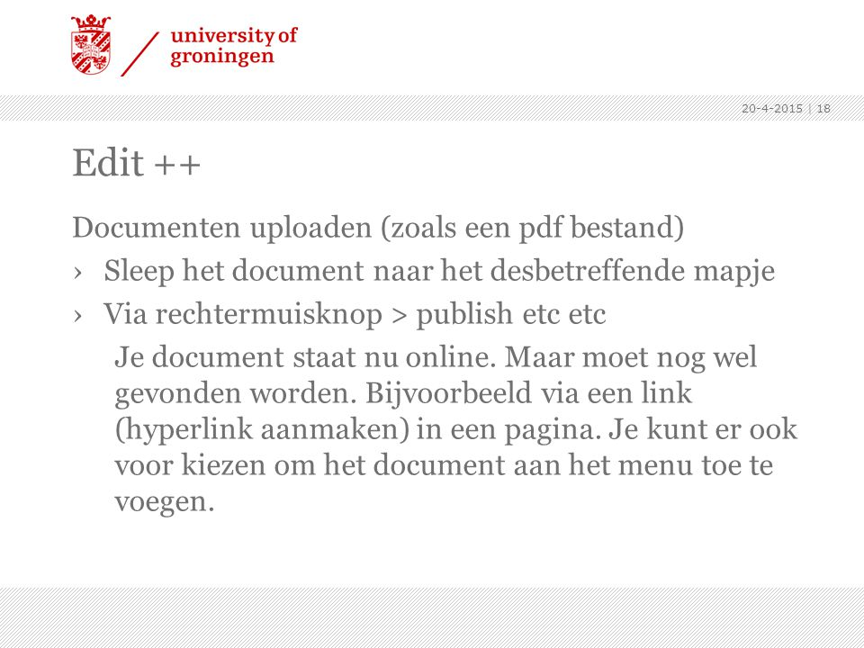 Edit ++ Documenten uploaden (zoals een pdf bestand)