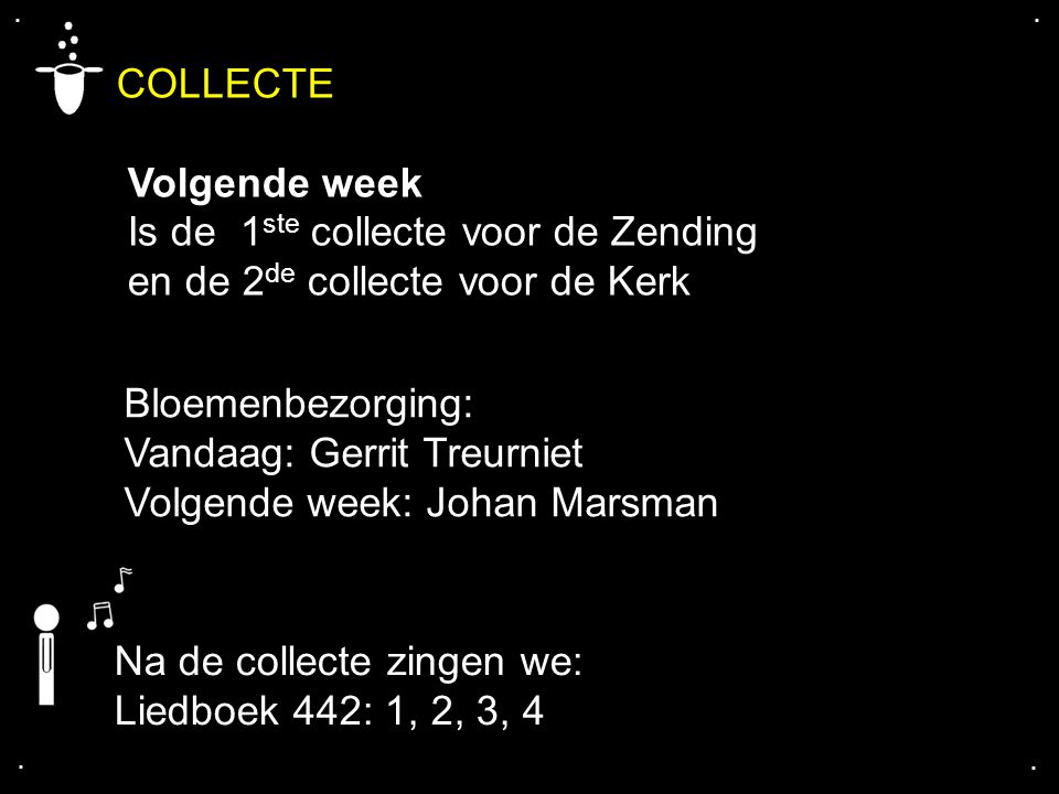 COLLECTE Volgende week Is de 1ste collecte voor de Zending