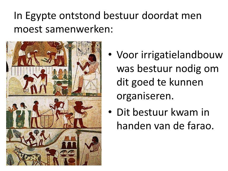 In Egypte ontstond bestuur doordat men moest samenwerken:
