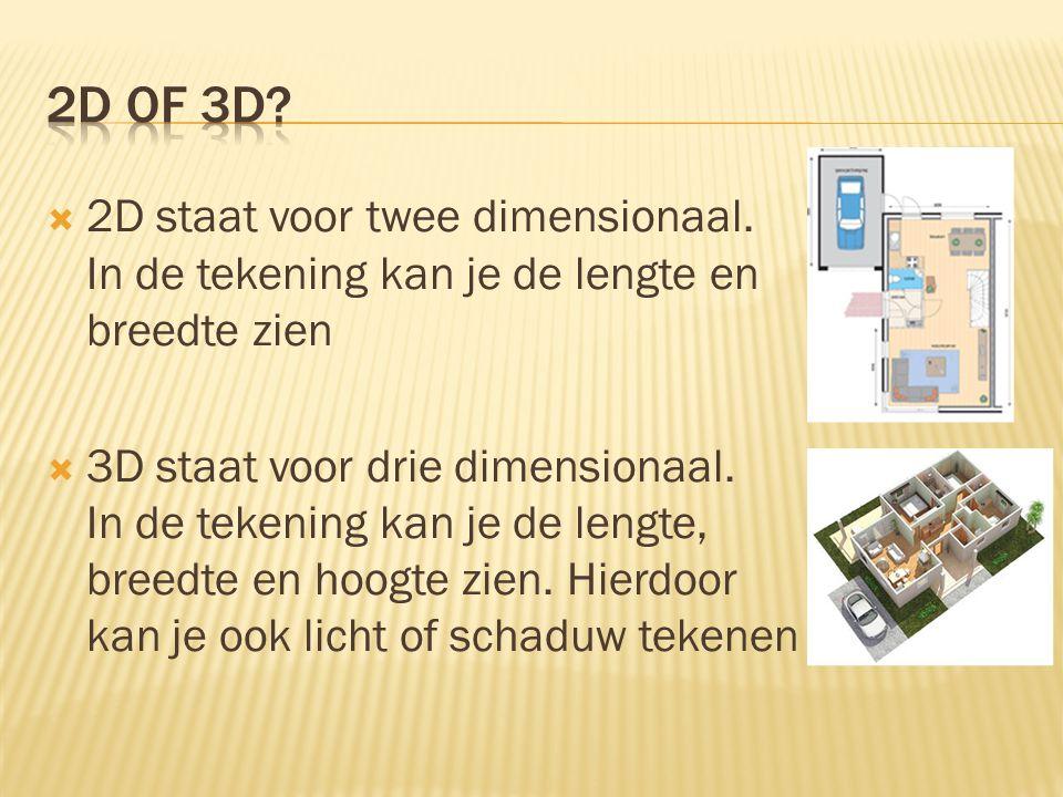 2d of 3d 2D staat voor twee dimensionaal. In de tekening kan je de lengte en breedte zien.