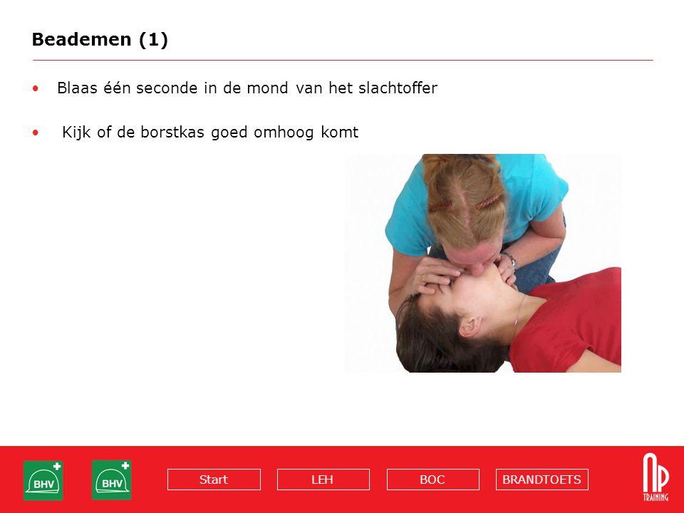Beademen (1) Blaas één seconde in de mond van het slachtoffer