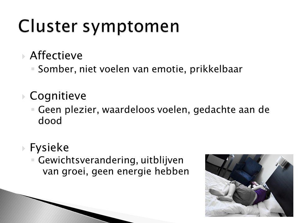 Cluster symptomen Affectieve Cognitieve Fysieke