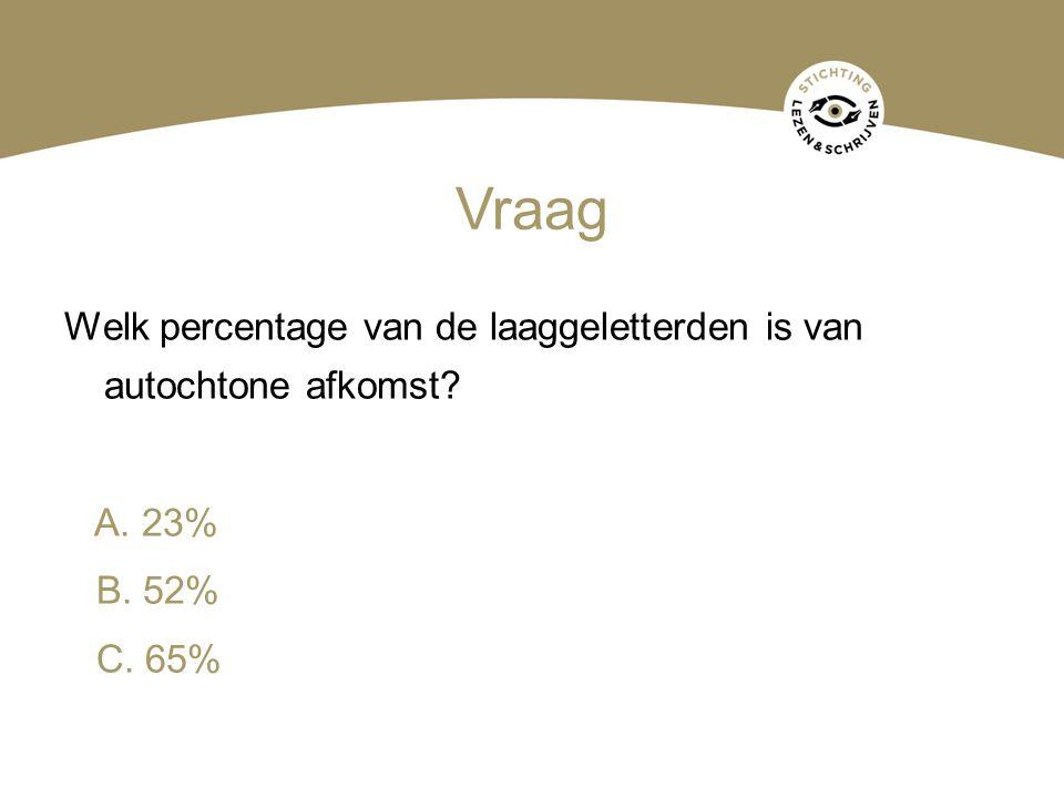 Vraag Welk percentage van de laaggeletterden is van autochtone afkomst A. 23% B. 52% C. 65%