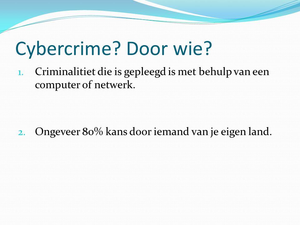 Cybercrime. Door wie. Criminalitiet die is gepleegd is met behulp van een computer of netwerk.