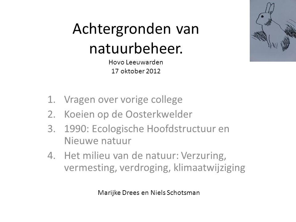 Achtergronden van natuurbeheer. Hovo Leeuwarden 17 oktober 2012