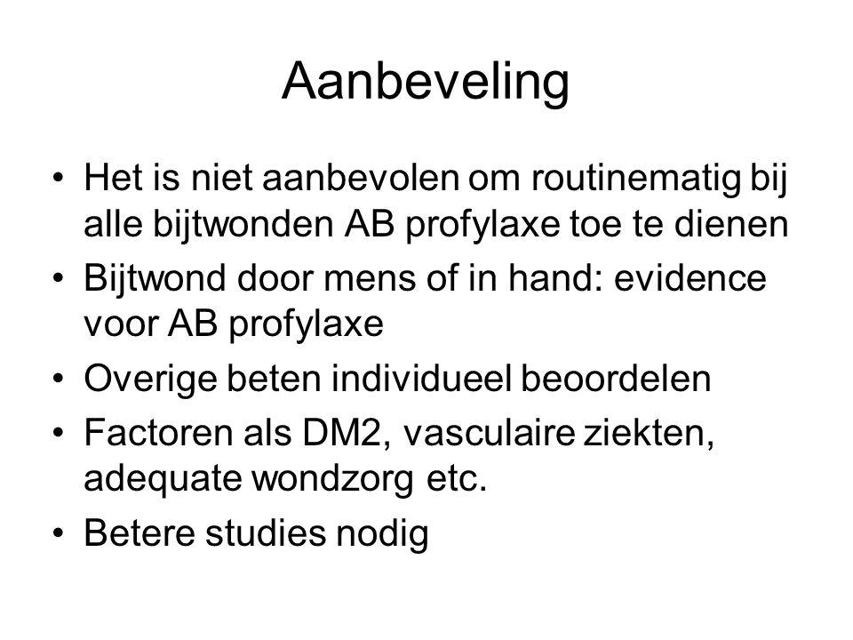 Aanbeveling Het is niet aanbevolen om routinematig bij alle bijtwonden AB profylaxe toe te dienen.